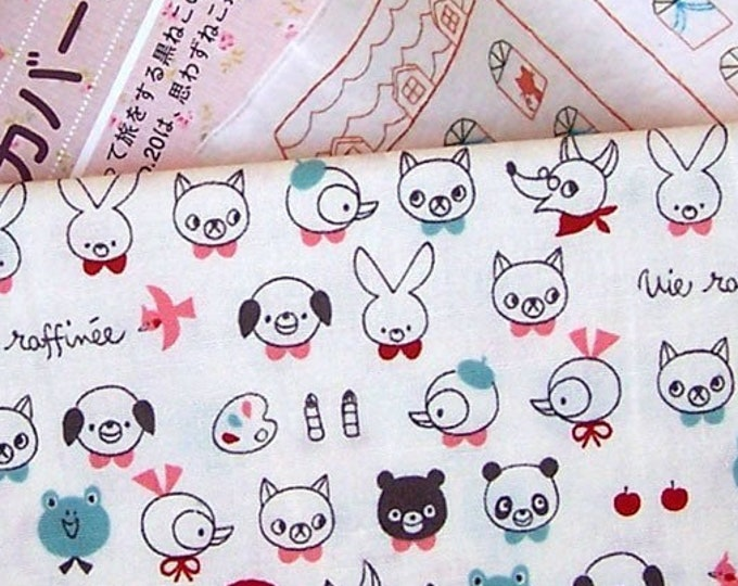 Dog, Panda, Pig, Bear, Rabbit , Frog - animals, French text - Cotton Fabric - select cut