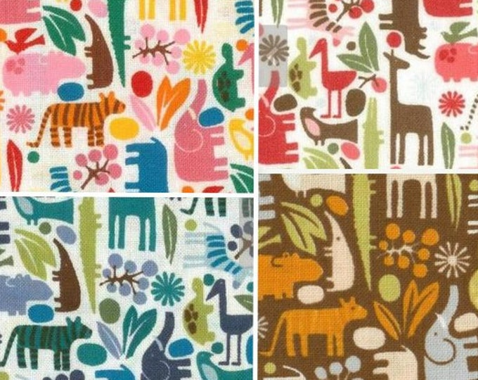 Alexander Henry Tiny Zoo Animals - quilting cotton children's fabrics - giraffe, crocodile, tiger, elephant - by the yard