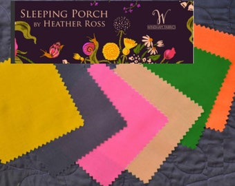Sleeping Porch by Heather Ross - solids - cotton lawn fabric - 6 fat quarters