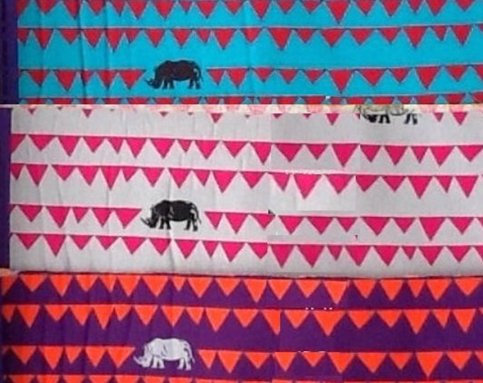 Rhino Banner Pennant Bunting Flag  - ECHINO Decoro by Etsuko Furuya - fat quarter set of 3