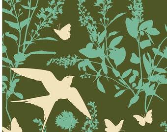 SALE HOME DECOR Bungalow by Joel Dewberry - Swallow Study HDJD022 Forest, Wide width Cotton Sateen - 1 yard