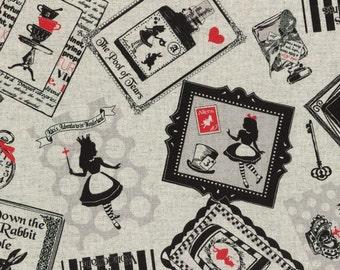 Alice in Wonderland - Alice in Frames L40687-11 Vintage, Japanese Cotton Linen Girl's Story by Lecien of Japan, half yard