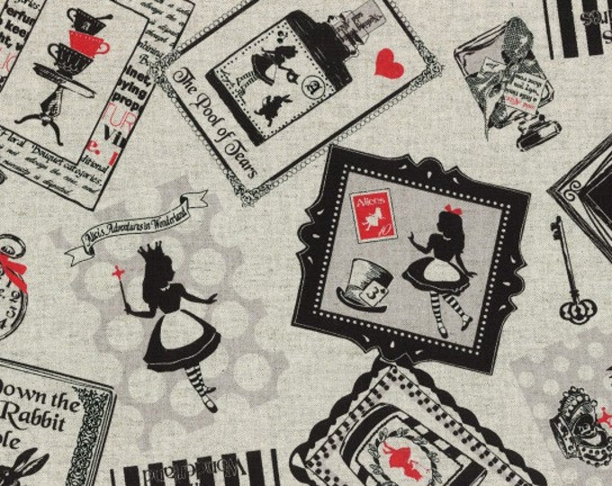 Alice in Wonderland - Alice in Frames L40687-11 Vintage, Japanese Cotton Linen Girl's Story by Lecien of Japan, half yard