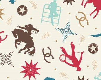 Western Cowboy ranch rodeo cotton fabric, Boots & Spurs Main 6867-Cream  - Samantha Walker for Riley Blake Designs, 1 1/4 yard remnant