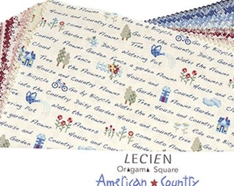 "Lecien 10"" x 10"" Fabric Squares - Layer cake Origami Pack - American Country XVI L3032-03OP, 42 pieces - by Lecien"