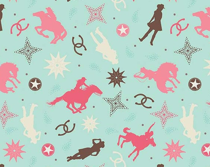 SALE Boots & Spurs Western Cowgirl cotton fabric, Main 6860 Mint  - Samantha Walker for Riley Blake Designs,