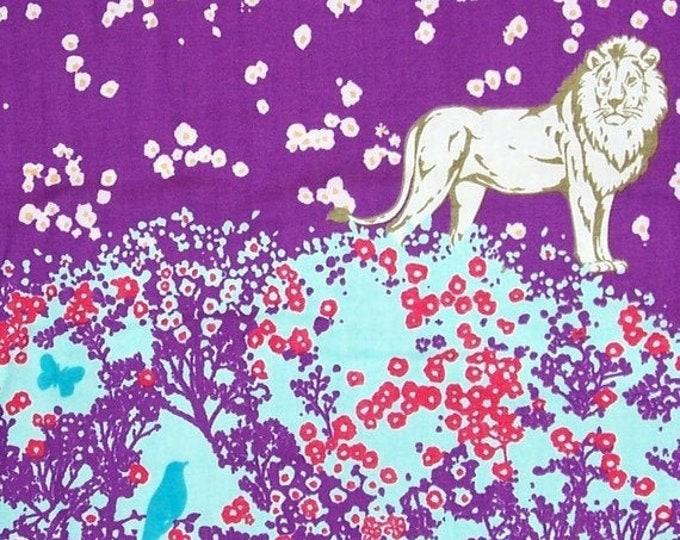 Echino Lion double gauze by Etsuko Furuya for Kokka -  Chelsea (EF102A) Purple - 1 yard