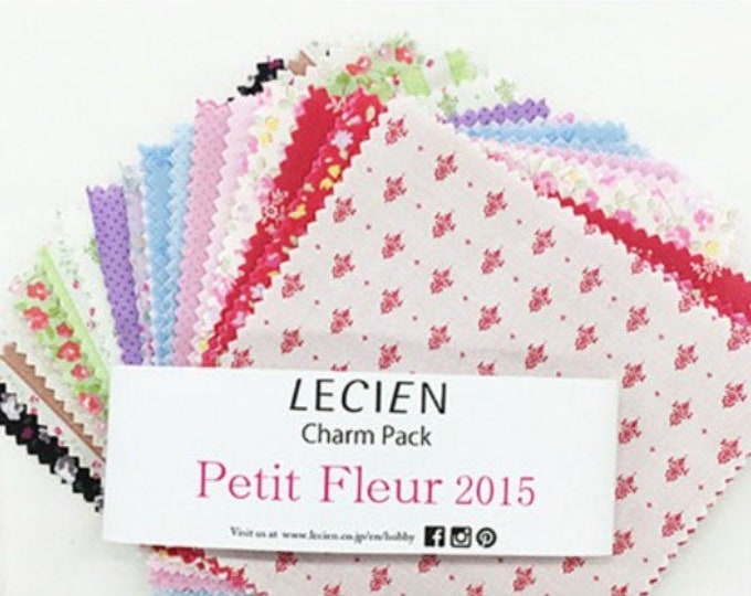 "5"" x 5"" Charm Pack - Lecien Japan Petit Fleur Basics set, 42 pieces"
