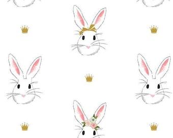 SALE Double GAUZE Wonderland 2 - Main Bunnies DG5770-WHITE, gold crowns - Melissa Mortenson for Riley Blake - select a length
