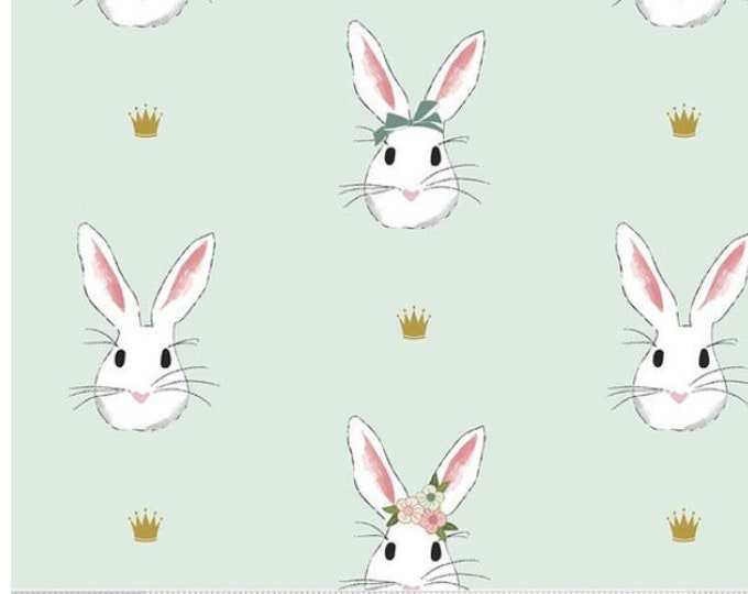 SALE Double GAUZE Wonderland 2 - Main Bunnies DG5770-MINT, gold crowns - Melissa Mortenson for Riley Blake - select a length
