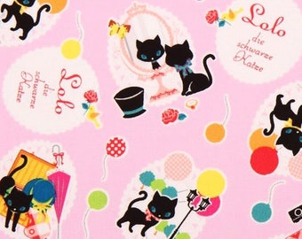 Lolo the Black Cat by Kokka Japan - Japanese oxford cotton fabric K2303-002 Pink, select a length