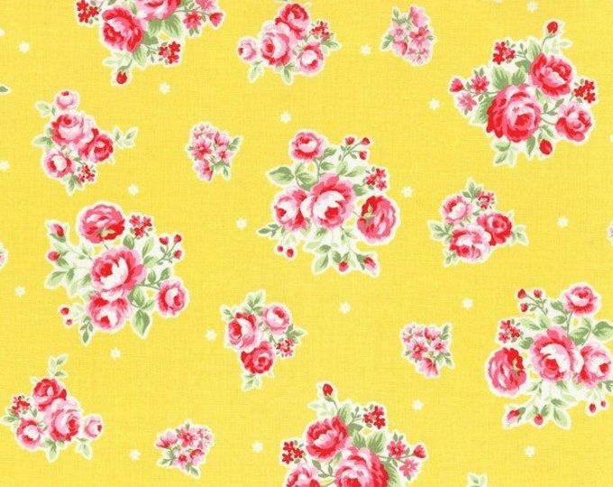 Flower Sugar Spring Fabric by Lecien - Roses Stars L31129-50 Yellow - select a length