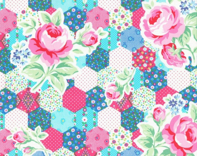 Flower Sugar Spring Fabric by Lecien - Rose Hexagon Patchwork L31128-70 Blue Pink - select a length