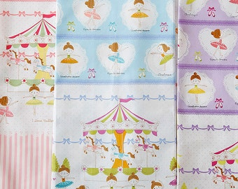 Prima Ballerina Border Fabric K5005 - Kokka Japanese Cotton Putite Ecole - choose length and color