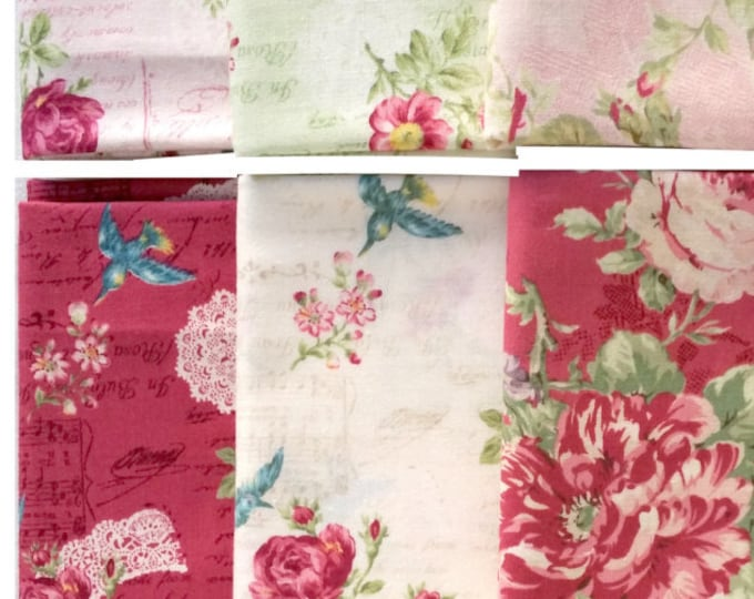 Quilt Gate Rose Bouquet - Rose Music Notes Text Bird quilting cotton fabrics, 6 fat quarters