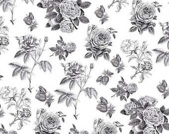 Rose cotton fabric RB4540 Black White - Sew Charming by Bo Bunny for Riley Blake