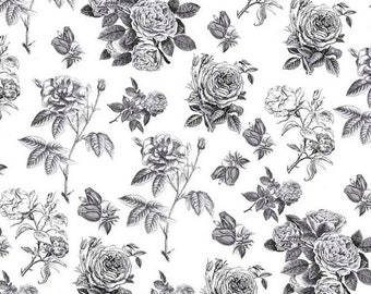 Rose Cotton Fabric RB4540 Black White