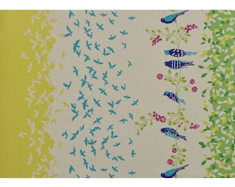 ECHINO STANDARD Border Cotton Linen fabric Bird Song by Etsuko Furuya EF100_10C Green Yellow - select a length