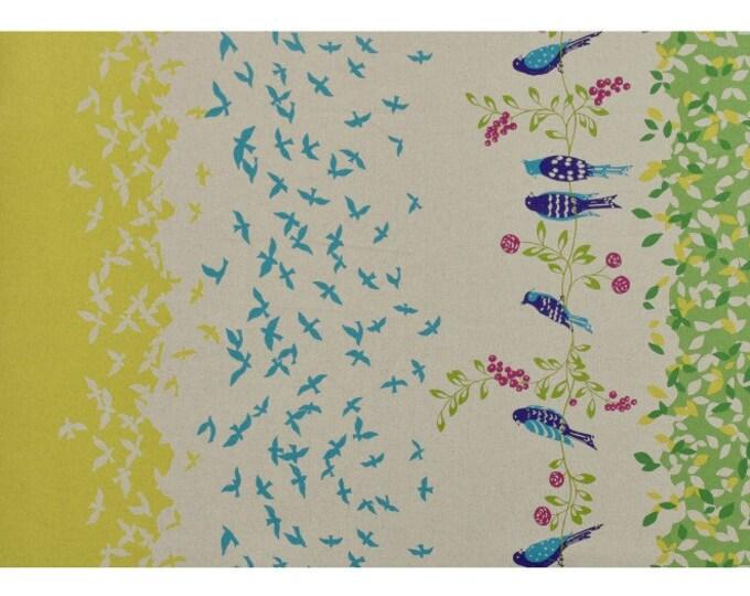 ECHINO STANDARD Border Cotton Linen fabric Bird Song by Etsuko Furuya EF100_10C Green Yellow - select a length
