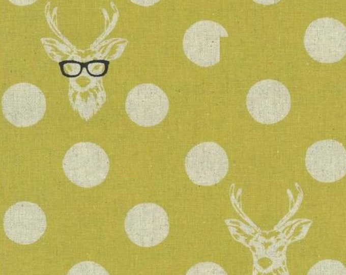 Cotton Linen ECHINO by Etsuko Furuya  - Buck and Dots EF500C Yellow, 33 inches - end of bolt