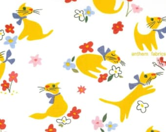 Cat fabric Paris Paws AH7099-A Natural  by Alexander Henry - select cut