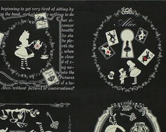 Alice in Wonderland panel - Alice L40574-100 Black, Japanese Cotton Linen Girl's Story by Lecien of Japan, 1 panel