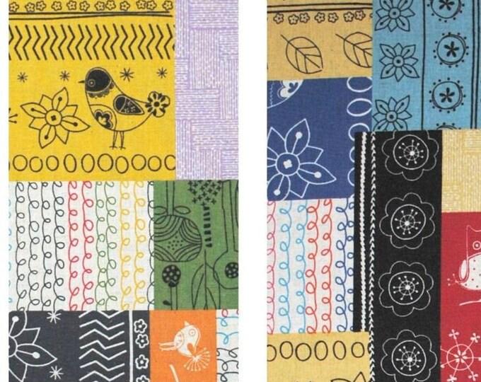 Cotton Linen fabric - Retro vintage 1970's Scandinavian Bird Patchwork L40582 - Minakoko by Koko Seki for Lecien - select color and length