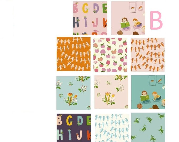 Kinder 11(B) or 12(A) fat quarters - choose a bundle - Heather Ross quilt cotton fabric kindergarten, apples, alphabet, frogs spring blooms