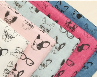 Kokka Japan Fabric - K6006 French Bulldogs - Double Gauze Cotton - Half Yard X 5 pieces