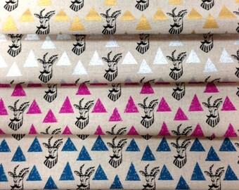 Echino Impala Triangles EF402 , Etsuko Furuya  Cotton Linen Fabric - 1 yard choose color: Pink, Blue, Black, Metallic Gold, metallic Silver