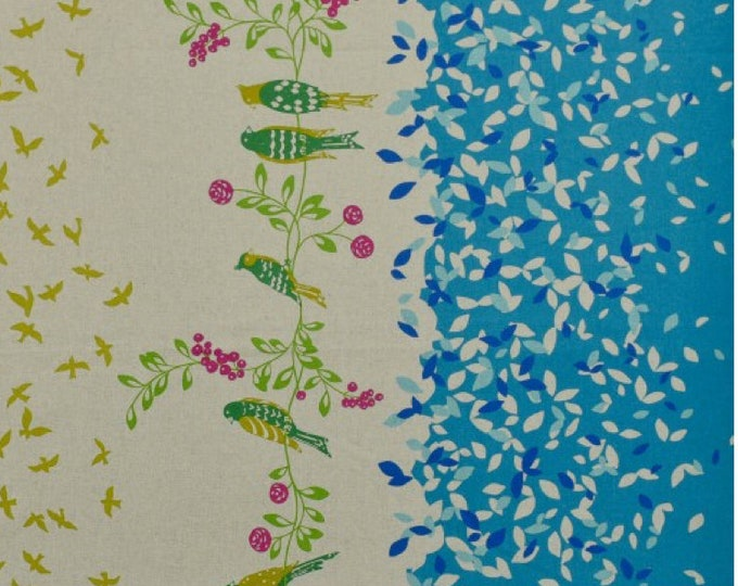 ECHINO STANDARD Border Cotton Linen fabric Bird Song by Etsuko Furuya EF100_10B Blue - select a length
