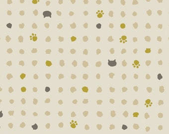 Quilt Gate Japan Hyakka Ryoran fabric~ Neko Small Cat Paws and Dots ~ QG3170-15A select length