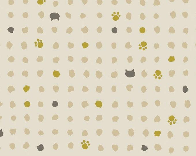 Quilt Gate Japan Hyakka Ryoran fabric~ Neko Small Cat Paws and Dots ~ QG3170-15A select length