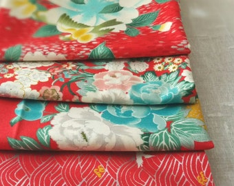 Quilt Gate Floral and Bird quilting kimono cotton, Hyakka Ryoran - Tori  silver metallic fabric bundle, half yard set of 4 in red