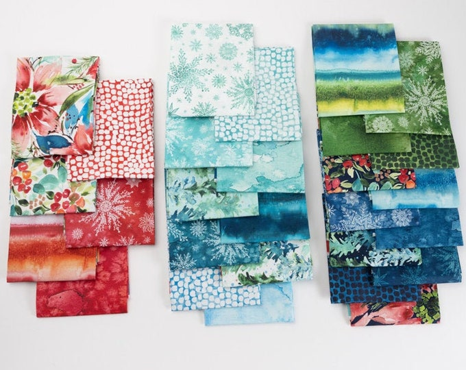 Featured listing image: Starflower Christmas  fabric by Moda ~ fat quarters fabric bundle, Cool OR Warm colorway
