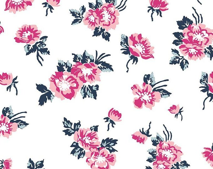 SALE Derby Day cotton fabric, Main Flowers RB6870-white - Melissa Mortenson for Riley Blake Designs