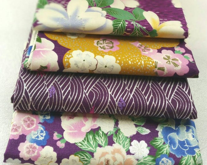 Quilt Gate Floral and Bird quilting kimono cotton - Hyakka Ryoran Tori silver metallic fabric bundle, 1/2 yard cuts - set of 4 in purple