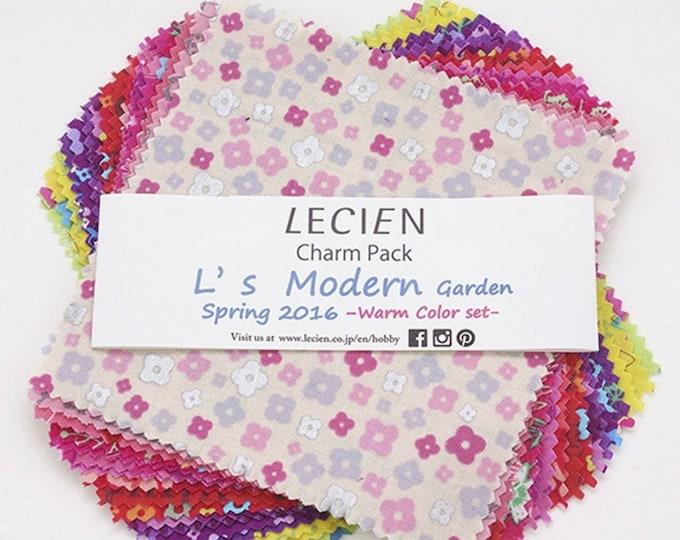"Charm Pack L's Modern Garden Floral, Lecien quilting cotton fabric - SP16 Warm set, 5"" x 5"" 42 pieces"