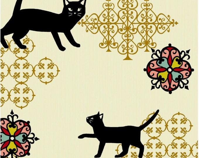 Metallic gold Neko II Calico Cat fabric - Quilt Gate Japan, Hyakka Ryoran QG3170-12A select length