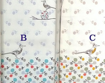 Cotton wool Bird Canary rose - Kokka Japan panel border fabric Viyella K50500-1, choose color and length