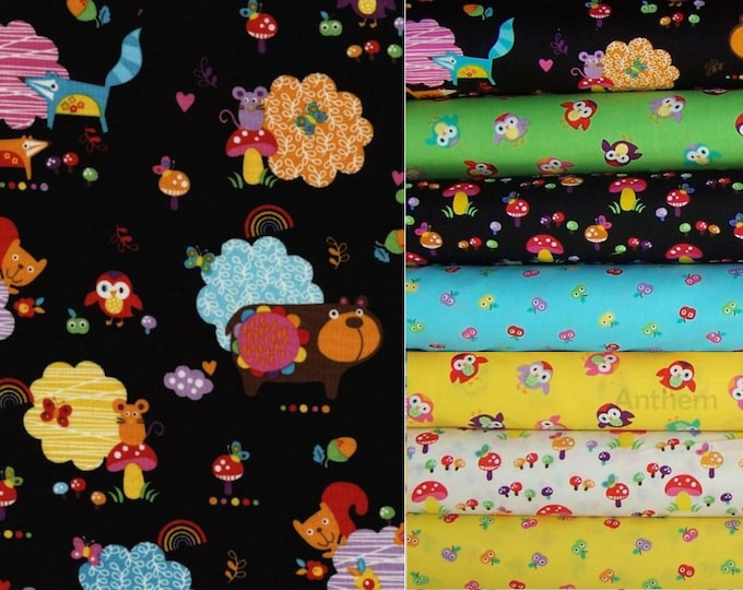 Timeless Treasures Momo by Alice Kennedy - 1/2 YARD CUTS - fabric bundle, 7 pieces