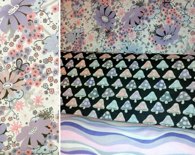 OOP Tillbrook in Lavender by Alexander Henry, cotton fabric - Half yard bundle of 3