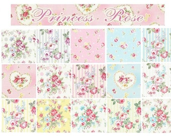 Princess Rose Fabric by Lecien - quilting cotton fabric - 15 fat quarters