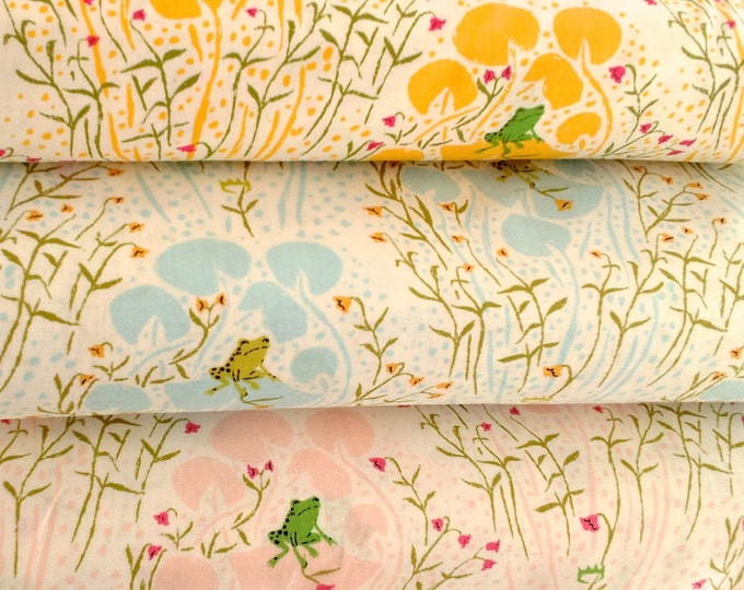 Far Far Away Cotton Fabric by Heather Ross, Frogs - fat quarter set of 3