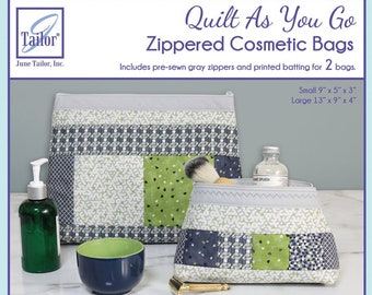 Quilt As You Go Pre-Printed Batting with Zippity-Do-Done zippers , Cosmetic Bag JT-1621 Grey zippers