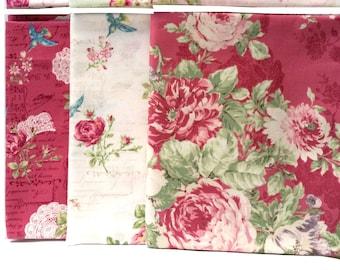 Quilt Gate Rose Bouquet - Rose Music Note Text Bird quilting cotton fabrics, 6 fat quarters