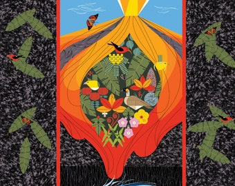 "Charley Harper Hawaiian Volcanoes GOTS certified organic cotton fabric, PANEL 36"" x 44"""