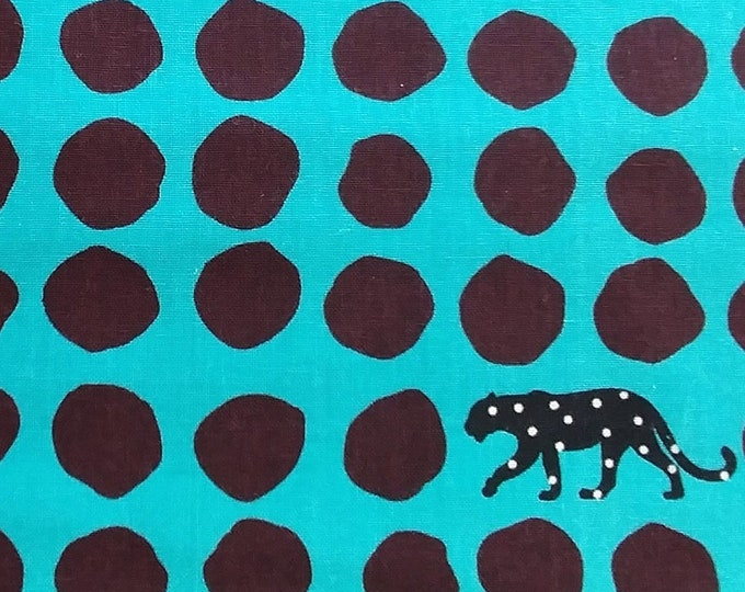ECHINO Panther EF506B Turquoise Blue Brown Dots - Canvas Cotton Linen Fabric, half yard
