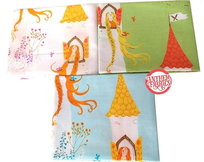 Far Far Away 2 by Heather Ross, quilting cotton mini fabric bundle Rapunzel HR51197, 3 fat quarters
