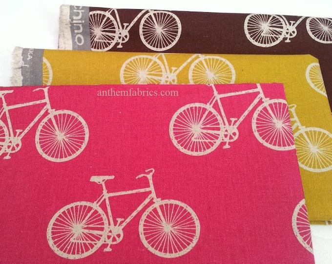 ECHINO-NICO cotton linen fabric by Etsuko Furuya - Bicycle Road bike, Cycling EF602, 1/2 yard set of 3